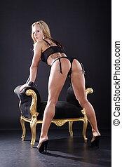 sexy, grande, mujer, exposiciones, butt