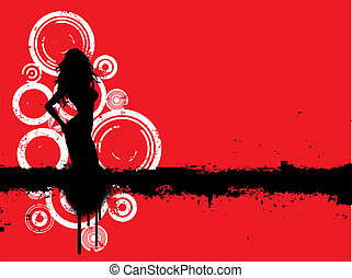 sexy grunge female - Silhouette of a sexy female on grunge...
