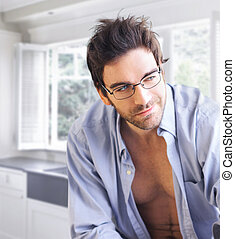 Sexy guy with playful smirk
