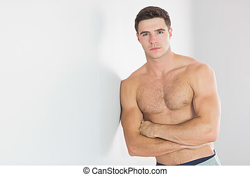 sexy, hübsch, mann, lehnend, oben ohne