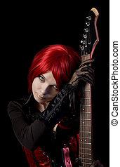 sexy, haired rosso, ragazza, con, chitarra