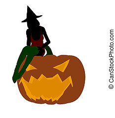 Sexy Halloween Witch Art Illustration Silhouette - Sexy...