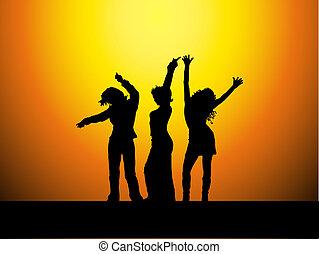 sexy, hembras, bailando