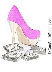 Sexy high heels over money