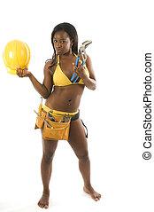 sexy hispanic construction woman with tools in bikini