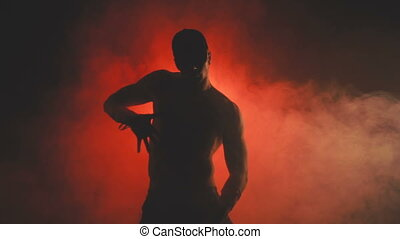 sexy, homme, silhouette, danse