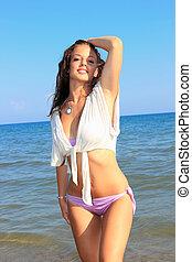 sexy hot brunette bikini model