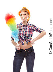 Sexy housewife holding a duster