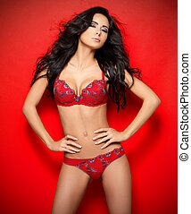Sexy in Red Lingerie