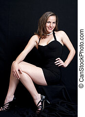 sexy, in, schwarzes kleid