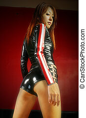 Sexy Japanese woman dressed in tight latex.