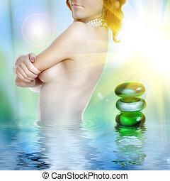 sexy, jeune femme, dans, eau, à, spa, pierres