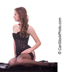 sexy, jeune femme, dans, noir, corset