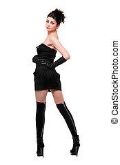 sexy, jonge vrouw , in, een, black , dress., vrijstaand