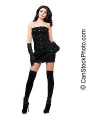 sexy, jonge vrouw , in, een, zwarte jurk