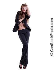 sexy, jonge vrouw , in, zwart kostuum
