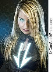 sexy, jonge vrouw , met, blauwe , neon belicht, toekomst, strijder, kostuum, fantasie, meisje