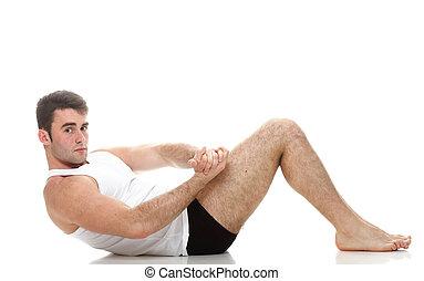 sexy, joven, moda, deporte, hombre, condición física, músculo, modelo, tipo, elaboración, empujón, aumentar, ejercicio, fondo blanco
