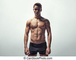 sexy, joven, muscular, hombre