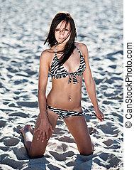 sexy, junge frau, strand