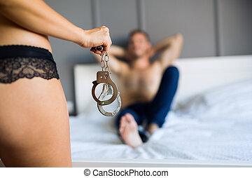 sexy, junges, in, schalfzimmer