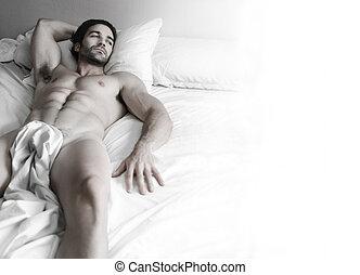 sexy, kęs, łóżko