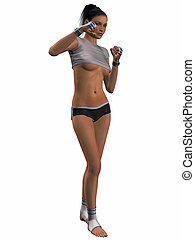Sexy Kick Boxing Poses - 3D Render of an Sexy Kick Boxing...