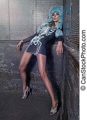 sexy, kleiden, frau, modern, mode