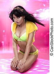 sexy, kobieta, żółty, bielizna