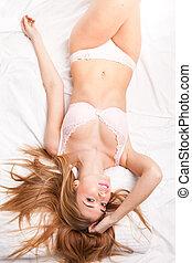 sexy, kobieta, bielizna, łóżko