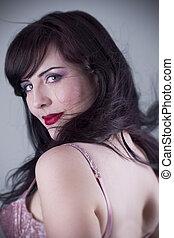 sexy, kobieta, brunetka, bielizna, portret