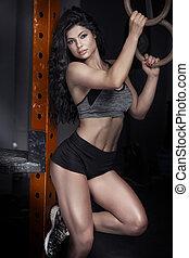 sexy, kobieta, brunetka, gym.