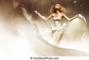 sexy, kobieta, chodząc, poślubny strój