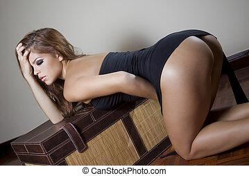 sexy, kobieta, fason