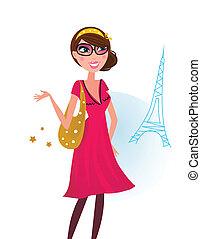 sexy, kobieta, na, zakupy, w, paryż, miasto