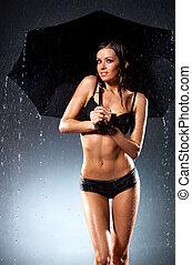 sexy, kobieta, parasol, młody