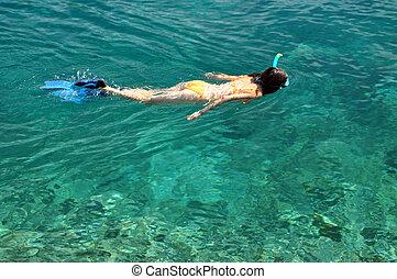 sexy, kobieta, snorkeling