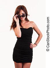 sexy, kobieta, w, sunglasses, przedstawianie