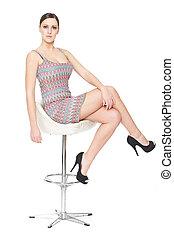 sexy, krzesło, kobieta posiedzenie