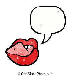 sexy, lèvres, dessin animé