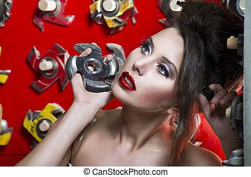 sexy, lèvres, rouges, femmes