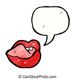 sexy, labbra, cartone animato