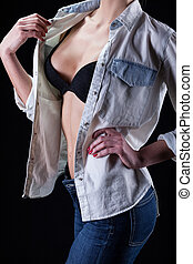 Sexy lady in bra and jeans shirt - Sexy tall lady in black...