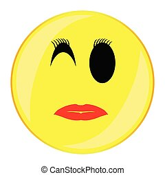 Sexy Lady Smile Face Button Isolated