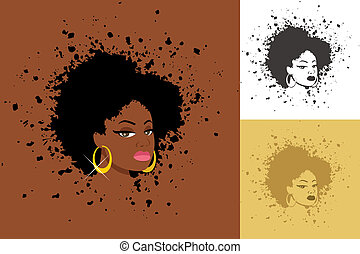 Sexy lady with abstract Afro hairstyle. The illustration is in 3 versions. No transparency and gradients used.