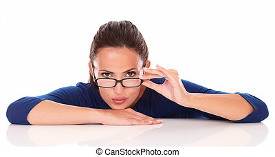 Sexy latin woman with glasses looking at you
