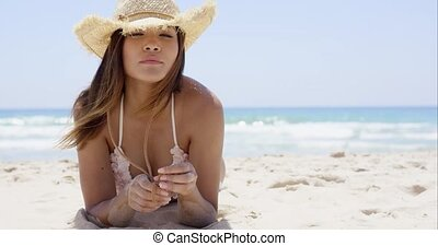 Sexy latina girl laying on the exotic beach - Sexy latina...