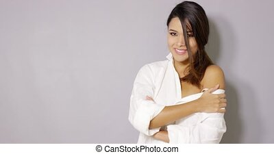 Sexy latina woman posing in white shirt - Sexy brunette...
