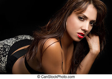 Sexy Latina Woman - Sexy latin woman on black background