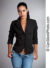 Sexy latina woman wearing jeans